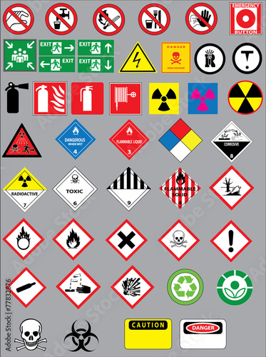 Fotografie, Obraz  Colection of warning and safety signs