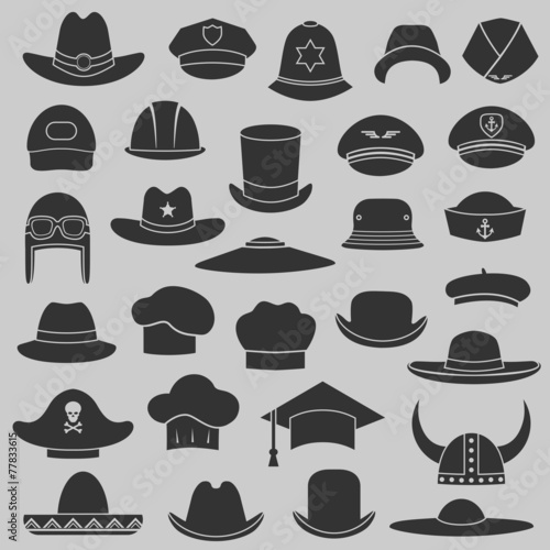 Fotografía  vector set hat and cap illustration, fashion set isolated icons
