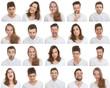 Leinwandbild Motiv set of different male and female faces