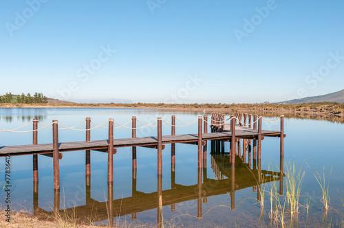 Fototapeta Dam with jetty near Somerset West obraz na płótnie