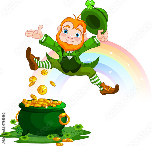 Stickers pour porte Magie Happy Leprechaun