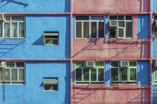 Old colorful residential building in Hong Kong Poster