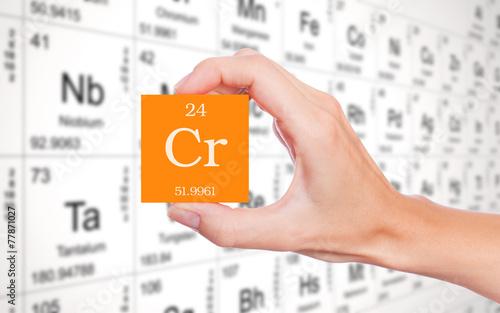Fotografía  Chromium symbol handheld in front of the periodic table