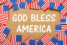 God Bless America Text With Fl...