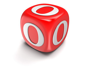 Dice with letter O (clipping path included)
