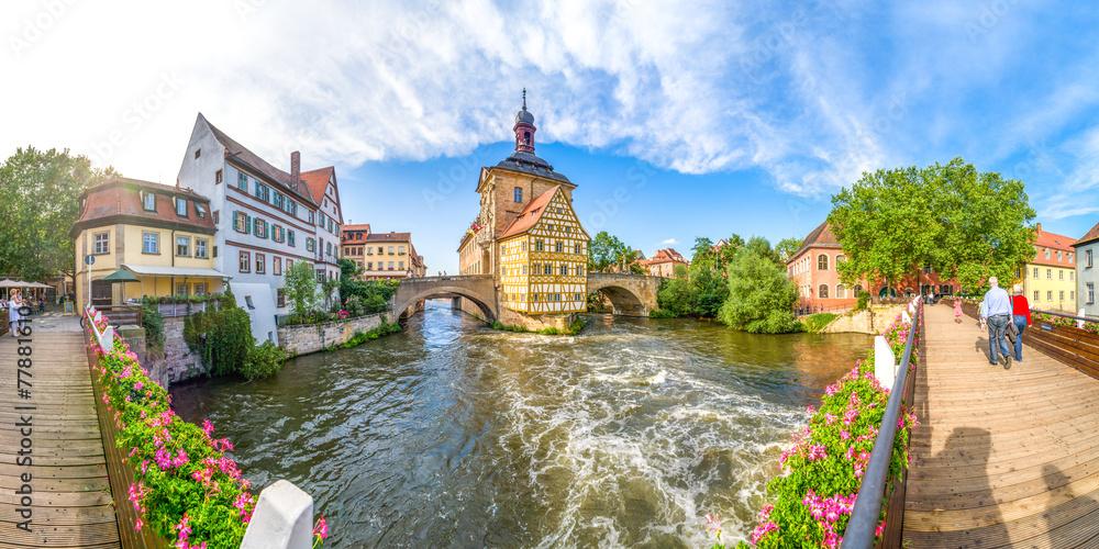 Fototapety, obrazy: Bamberg Panorama Brückenrathaus
