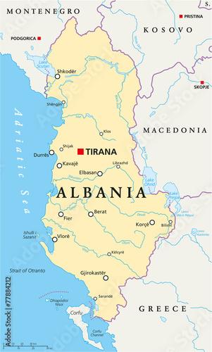 Albania Political Map Canvas Print