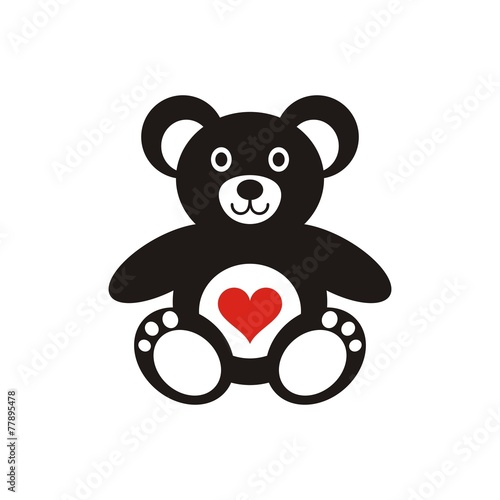 Teddy bear icon with heart #77895478