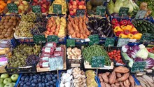 Fruits And Vegetables At An Italian Street Market