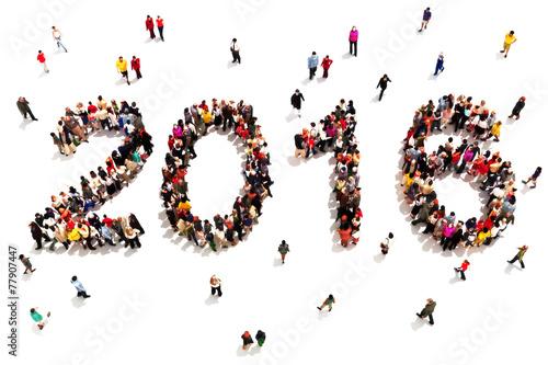 Fotografie, Obraz  Large group of people in the shape of 2016 celebrating