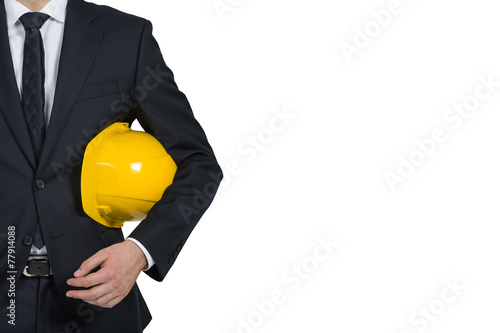 Fotografie, Obraz  businessman engineer holding helmet