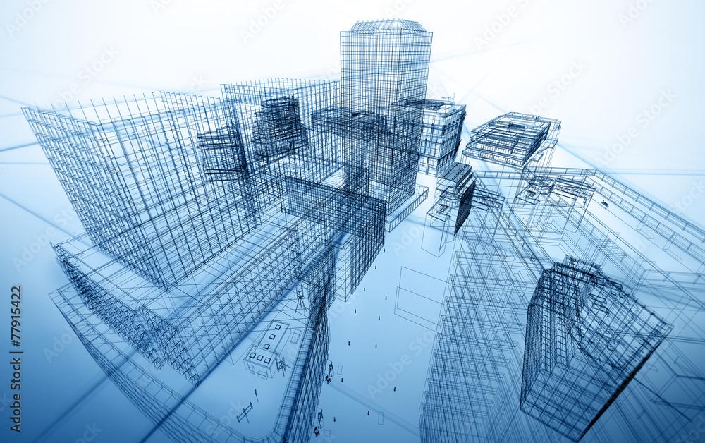 Fototapeta architecture abstract blueprint