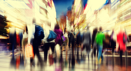 Fototapeta Abstrakcja Commuter People Rush Hour Busy City Concept