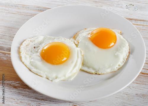 Deurstickers Gebakken Eieren Two fried eggs for healthy breakfast