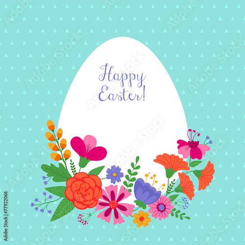 Easter holiday background with flowers Wallpaper Mural