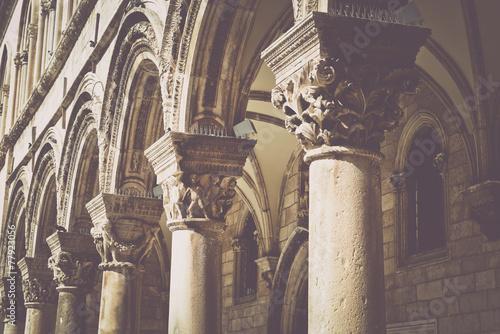 Fotografie, Obraz  Gothic Stone Pillars in Retro Film Style
