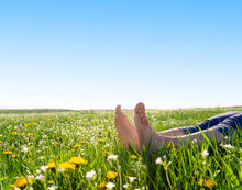 Bare Feet On Spring Grass And ...