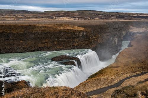 Gullfoss Wasserfall Im Herbst Island Buy This Stock Photo And