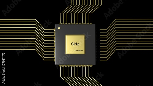 Fotografie, Obraz  Computer microchip CPU isolated on black background
