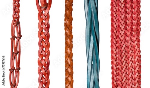 Cuadros en Lienzo Closeup of various leather belts