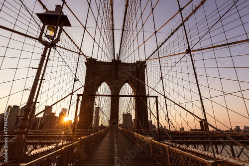 Fototapety, obrazy: Brooklyn Bridge sunset with Manhattan skyline US