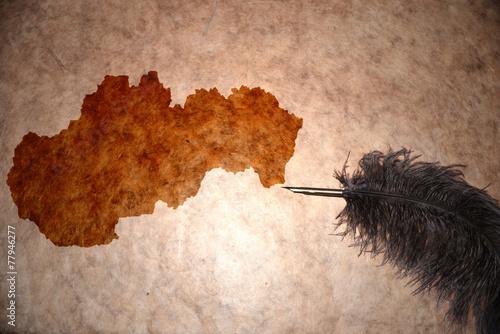 Vintage Slovakia map Tablou Canvas