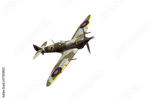 Supermarine Spitfire isolated on white background Tablou Canvas