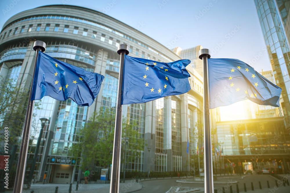Fototapeta European union flag against parliament in Brussels