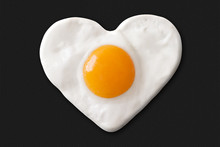 Fried Egg Shaped To Heart On T...