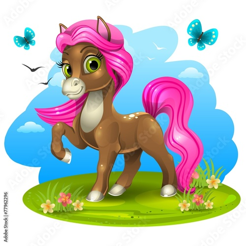 Brown pony with pink tail Fototapeta