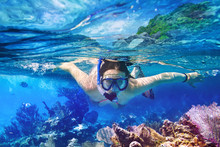 Young Women At Snorkeling In T...