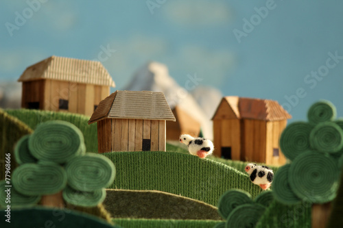 Photo Countryside landscape animation with cows made of wool