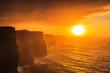 Leinwandbild Motiv Cliffs of Moher at sunset in Co. Clare Ireland Europe.