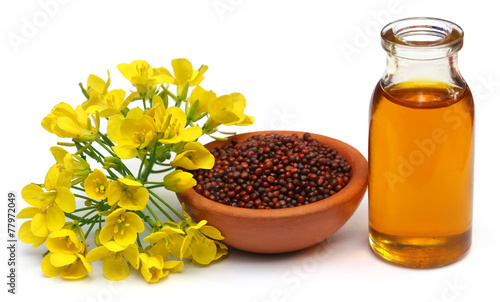 Fotografie, Tablou Mustard flowers, seeds and oil