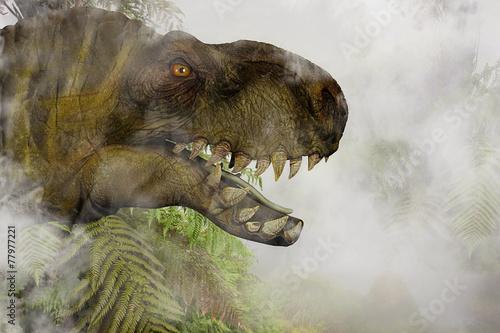 Photo  Tyrannosaurus Rex in the misty Jungle