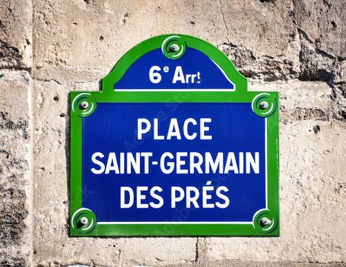 Photo Place Saint-Germain des Pres street sign