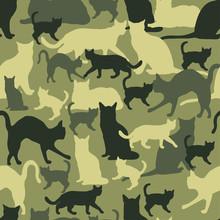 Seamless  Pattern Cat Camouflage