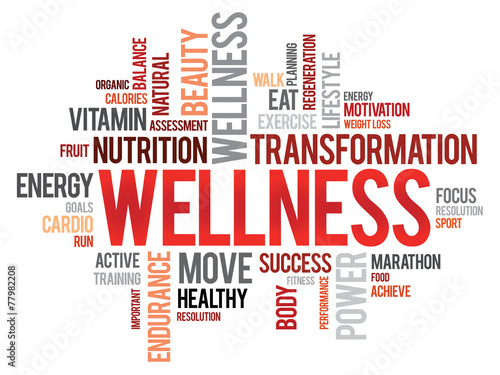 Fotografia  WELLNESS word cloud, fitness, sport, health concept