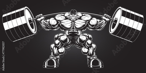 Fotografie, Obraz  Bodybuilder with a barbell