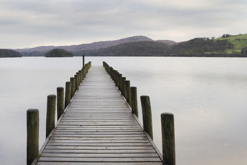 NaklejkaWooden jetty in the lake district