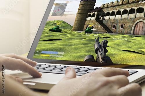Fotografía  Juego en un ordenador portátil