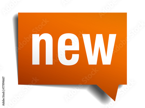 Fotografía  new orange speech bubble isolated on white