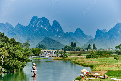 Deurstickers Guilin li river Guilin Yangshuo Guangxi China