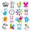 big set of vector logos children