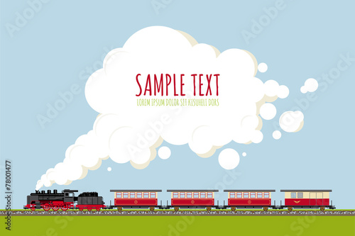 Steam Train in Landscape with copy space vector template Fototapete