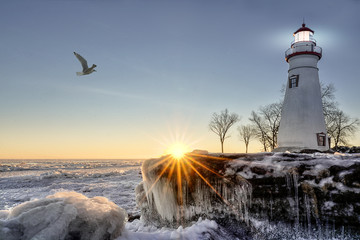 Obraz na Plexi Latarnie Marblehead Lighthouse Winter Sunrise