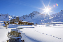 Tignes Village With Sun