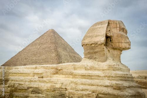 The Sphinx and Pyramid of Khufu #78007202