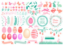 Happy Easter, Set Of Vector De...