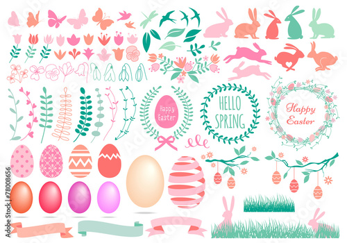 Photo  Happy Easter, set of vector design elements
